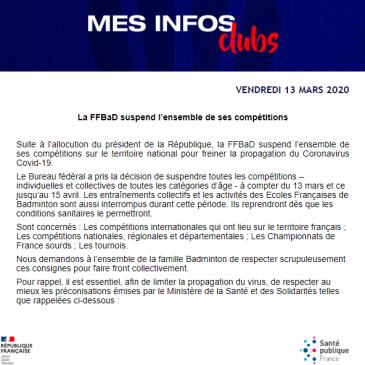 Communiqué OFFICIEL FFBAD / COVID-19